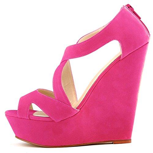 Oasap Mujer Zapatos de Cuñas Solido Multi-Correas Punta Abierta Fucsia