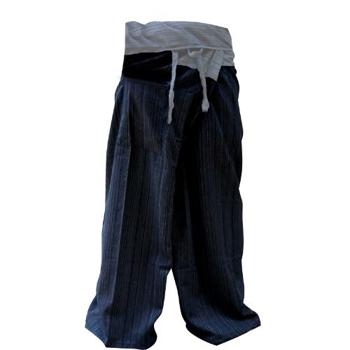 (LannaPremium 2 Tone Thai Fisherman Pants Yoga Trousers Free Size Plus Size Cotton Dark Blue and Drill Striped Gray)