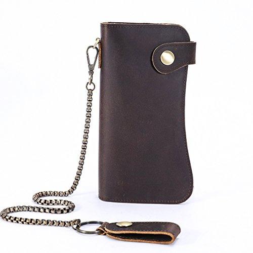 Men's Leather Wallets Chain Wallet Bifold Card Holder Purse Vintage Bikers Wallet -