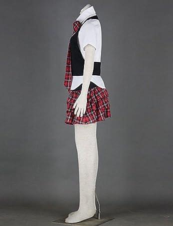 1576a194a HJL-Japanese School Girl's Black Vest Red Check Pattern Skirt School Uniform  , xxxl: Amazon.co.uk: Toys & Games
