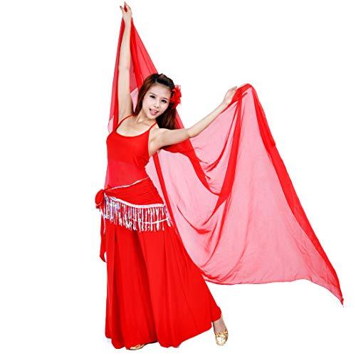 SHOWYOU 250x120cm 9 Colors 100% Chiffon Scarf Belly Dance Scarf Throwing Yarn Scarf Prop (Red)
