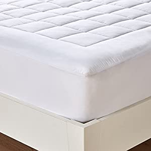 "Mattress Pad Cover-Cotton Top with Stretches to 18"" Deep Pocket Fits Up to 8""-21"" Cooling White Bed Topper (Down Alternative, Queen)"