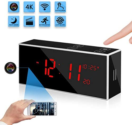 Hidden Spy Alarm Clock Camera with Stronger Night Vision YuanFan Small FHD1080P Wireless WiFi Smart Nanny Cam Motion Detection 160 Wide-Angle Fisheye Lens IP Remote Security Surveillance Camera