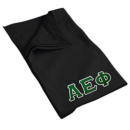 Alpha Epsilon Phi Sweatshirt Blanket with Twill Greek Letters (Black)