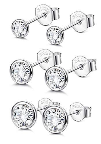Sllaiss Sterling Silver Cubic Zirconia Bezel Set Stud Earrings Set for Women Girls Round Cut CZ Earrings 3 Pairs Martini Stud Earrings Hypoallergenic Cubic Zirconia Bezel Set Earrings