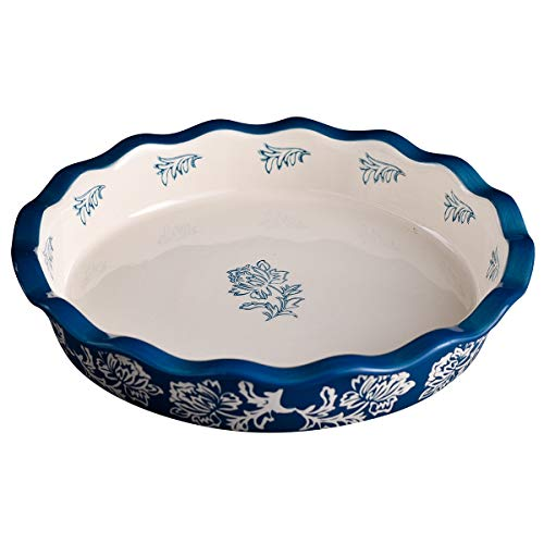 Ceramic Pie Pan, Wisenvoy 9 Inch Heat-Resistant Pie Dish, Non-Stick Pie Plate with Hand Painted Flower Design Safe for Dishwasher, Microwaves, Ovens, Royal Blue