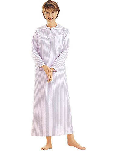 Omega National Striped Flannel Nightgown, Lilac, 1X - Wom...