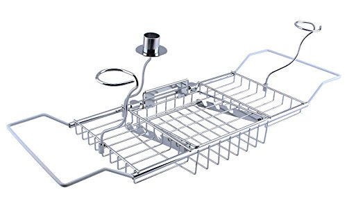 Yontree Stainless Steel Expandable Bathtub Tray Caddy with Bathroom Wine Glass Racks Reading Holder (24-33)x3.3x7.9 In.