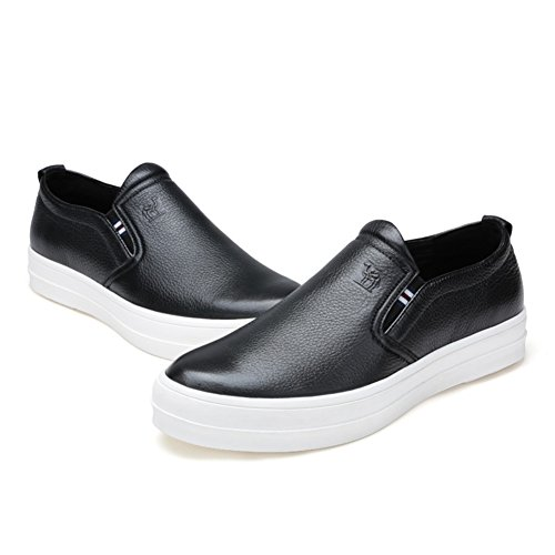 Mens Leather Casual Shoes Dress Herbst Business Hochzeit Mode Rutschen Schwarz Schwarz