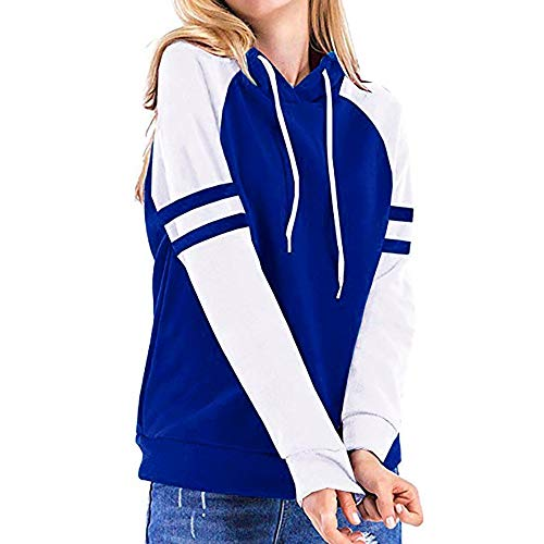 Emimarol Women Sweatshirt Color Block Long Sleeve Hoodies Casual O Neck Tunic Tops Hoodies Sweatshirt Blue
