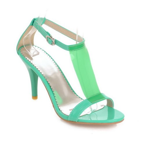 VogueZone009 Womens Open Toe High Heel Stiletto Patent Leather Solid Sandals with Buckle Green