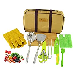 guoqr 9pcs Camping Cookware Kitchen Utensil Organizer Travel Portable BBQ Camp Cooking Utensils Kit