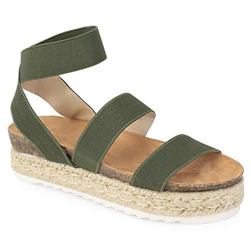 (RF ROOM OF FASHION Women's Slide On Espadrille Platform Comfort Ankle Elastic Strap Footbed Wedge Sandal Olive)