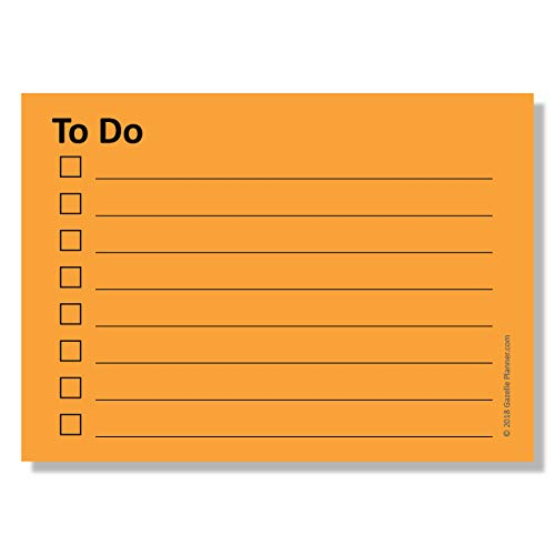 Sticky Notes with to-Do List Planner & Checklist with Lines - 4 Pads/Pack, 100 Sheets/Pad, (400 Total Sheets), Bright Orange (2.8 in x 4 in)
