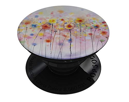 Drizzle Watercolor Flowers V1 - DesignSkinz Premium Decal Sticker Skin-Kit for PopSockets Smartphone Extendable Grip & Stand