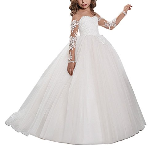 KoKoHouse Flower Girls Ball Gown Pageant First Communion Scoop Lace Dress US4 Ivory