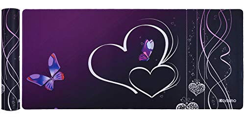 iKammo Extended Gaming Mouse Pad/Mat XXL Extra Large Desk Pad- QcK Gaming Surface- Optimized Gaming Surface,Non-slip Rubber Base Sticthed Edge MousePad (35x15.55x0.08)-Purple Butterfly