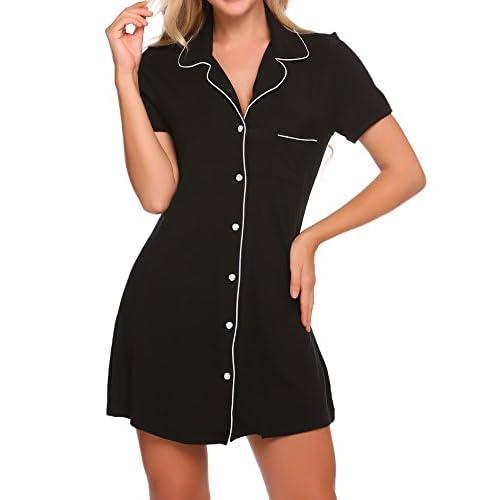 Ekouaer Womens Sleepshirt Short Sleeve Pajama Top Boyfriend Sleepwear S-XXL free shipping