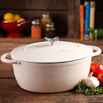The Pioneer Woman Timeless Beauty Cast iron 7-Quart Food network Dutch Oven with Bakelite Knob and Stainless Steel Butterfly Knob
