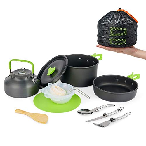 Camp Cookware Set,MEETSUN Camping Cooking Set Portable Mess Kit 12 Piece Backpacking Gear with Non-Stick Pot Kettle…