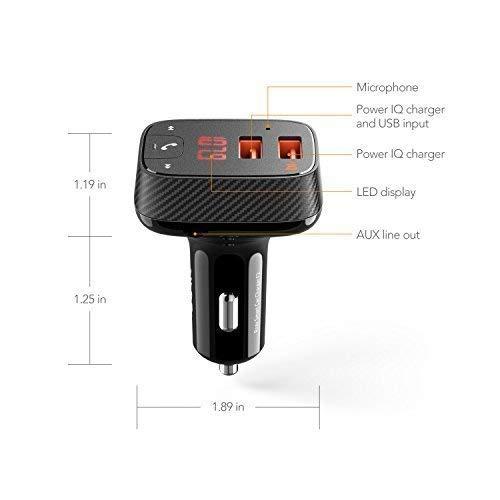 Sistema di Trasmissione Radio Senza Fili Supporto App Ricevitore Bluetooth 4.2 ROAV Kit SmartCharge F2 by Anker Uscita AUX e Lettore MP3 Via USB. Car Locator Caricabatterie USB con PowerIQ