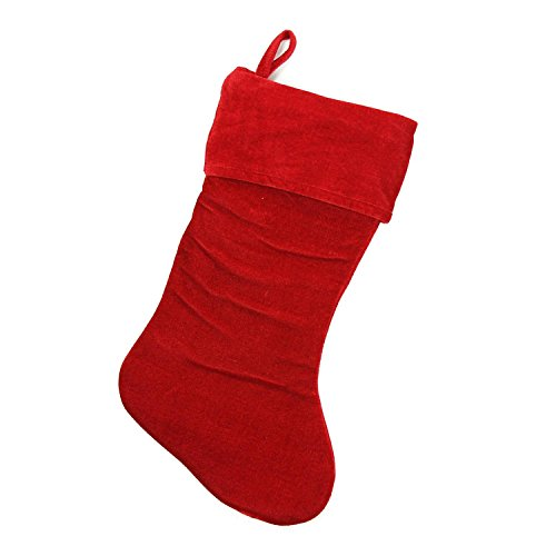 Northlight Traditional Solid Red Velvet Christmas Stocking, (Red Velvet Christmas Stocking)