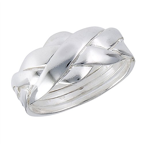 Puzzle Criss Cross Knot Ring New 925 Sterling Silver High Polish Band Size 7 (Ring Sterling Puzzle Silver 925)
