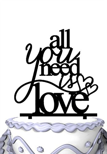 Meijiafei All You Need Is Love Cake Topper with Double Hearts Custom Wedding Cake Topper