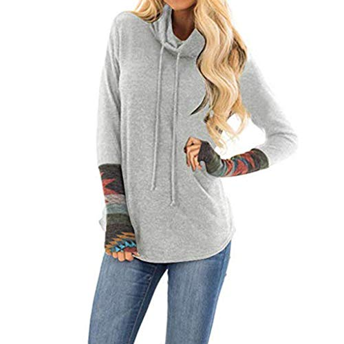 AgrinTol Women Blouse Ladies Print Long Sleeve Turtleneck Casual Tops Blouse Gray