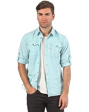 G Star RAW Seafarer Roll-Up Shirt, Lt Cote, Size L $125