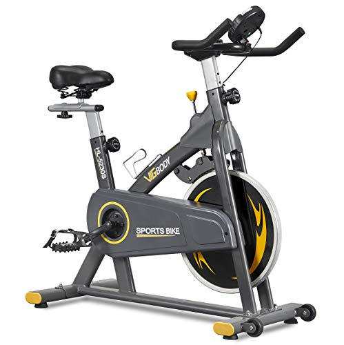VIGBODY Stationary Exercise Bike Indoor Cycling Bike for Cardio Workout, with Comfortable Seat Cushion, LCD Monitor for…
