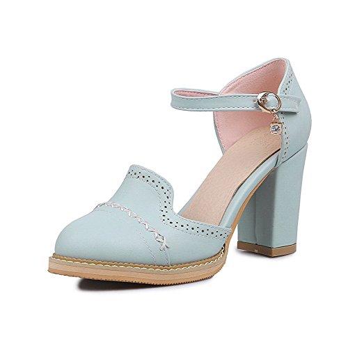 Allhqfashion Dames Hoge Hakken Zacht Materiaal Stevige Gesp Ronde Sandalen Met Gesloten Neus Blauw
