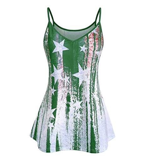 〓COOlCCI〓Women's Sexy Star V-Notch Sleeveless Beach Floral Tanktop Spaghetti Strap Tops Blouse Vests Camisoles ()