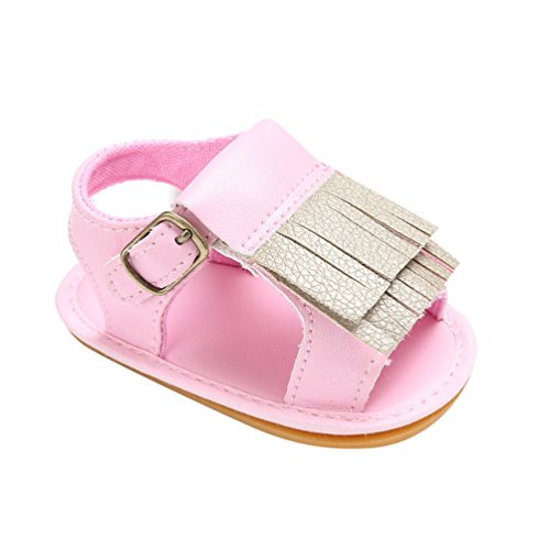 CHENGYANG Kinder Schuhe Baby Mädchen Sommer Quasten Sandalen Kleinkind Lauflernschuhe Pink#2