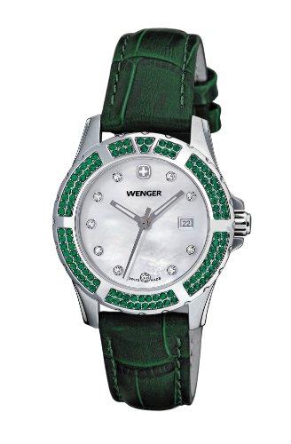 Wenger Women's 70313 Sport Elegance Green Leather Strap Watch