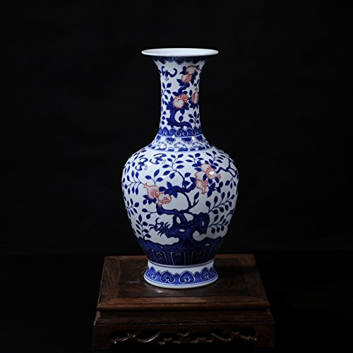 Chinese Porcelain Vase Flower Home Office Decor Hand Made and Hand Painted Porcelain ( Height: 14 inches )