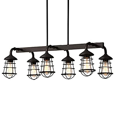 "Stone & Beam Vintage Farmhouse Lantern Ceiling Chandelier Fixture With 6 Light Bulbs - 33.25 x 17.75 x 19.75 Inches, 6 - 48 Inch Cord, Oil Rubbed Bronze - Six vintage lantern lights form a chandelier ideal for rustic farmhouse or modern kitchen islands. Vintage-inspired bulbs are housed behind industrial wire cage shades, which are suspended on arms from a singular central piece. 33.25""W x 17.75""D x 19.75""H, Hanging Length: 6""-48"" Bulbs included - kitchen-dining-room-decor, kitchen-dining-room, chandeliers-lighting - 41CHr96g6iL. SS400  -"