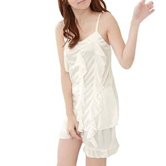 Ladies Slip Strap Flounce Front Semi Sheer Sexy Pajamas Set
