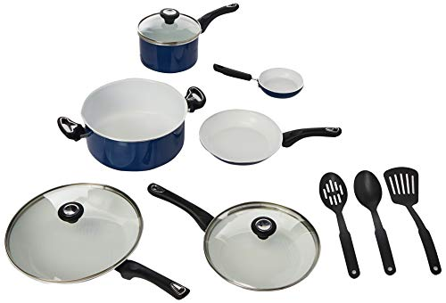 Farberware PURECOOK Ceramic Nonstick Cookware 12-Piece Pots and Pans Cookware Set, Blue ()