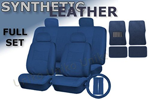 Deluxe Leatherette Full Set 17 Piece Car Seat Covers Double Stitched - Front Rear Steering Wheel Set - 4 Piece Floor Mats (Blue Leatherette)