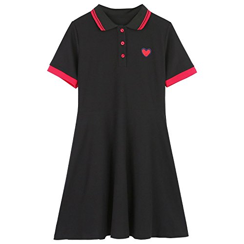 Bleu 97 Manches Une Polo S Jin MiGMV 88 Femme T Shirt Robe Robe Jupe brod Courtes fonc col 6vwCaqf