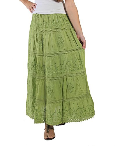 KayJayStyles Full Length Womens Solid Embroidered Gypsy Bohemian Long Cotton Skirt (Lime)]()
