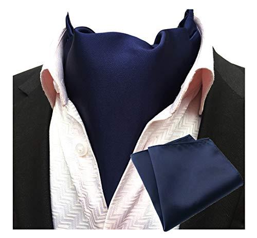 Silk Pleated Necktie (MOHSLEE Men's Navy Blue Silk Cravat Tie Woven Self Fancy Ascot Necktie Hanky Set)
