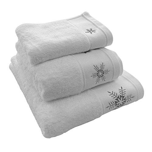 Luxury Embroidered Christmas Festive 100% Cotton Towel - Snowflake - White Gray - Bath Towel