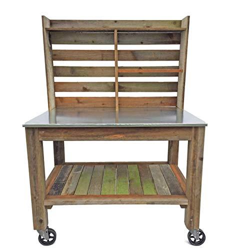(EST. LEE DISPLAY L D 1902 Potting Bench Buffet Table Island Cart Work Bench Outdoor Garden Station Hand-Made Redwood Zinc Top Wheels)