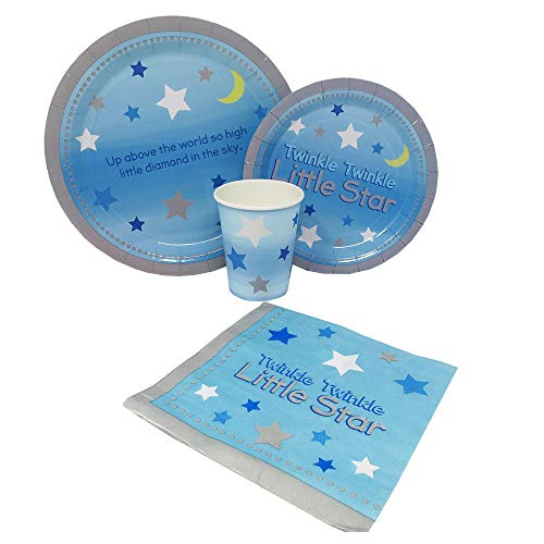 Twinkle Twinkle Boy Standard Party Packs (65+ Pieces for 16 Guests!), Baby Shower Supplies, Birthday, Twinkle Twinkle Little Star, ()