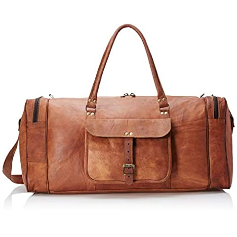 Leather 24 Inch Square Duffel Travel Gym Sports Overnight Wee... - Sale: $54 USD (21% off)
