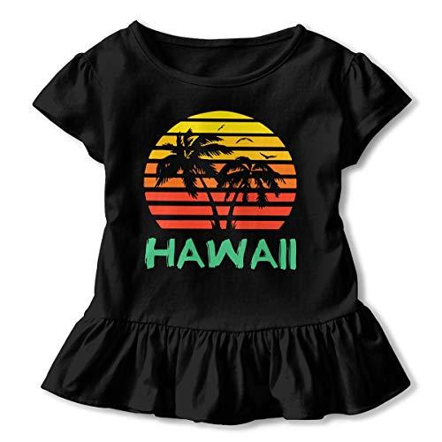 Hawaii 80s Sunset - Hawaii Children's Girls Short Sleeve T Shirts Ruffles Shirt T-Shirt Black]()