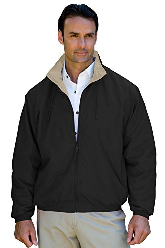 Vantage Men's Hampton Microfiber Lightweight Jacket, Black/Khaki, XL