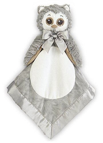 Enchanted Forest Baby Shower - Bearington Baby Lil' Owlie Snuggler, Gray Owl Plush Stuffed Animal Security Blanket, Lovey 15